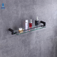 Ulgksd Wall Mounted Black Brass Glass Bath Towel Holders Towel Shelf Towel Racks Bathroom Hardware Bathroom