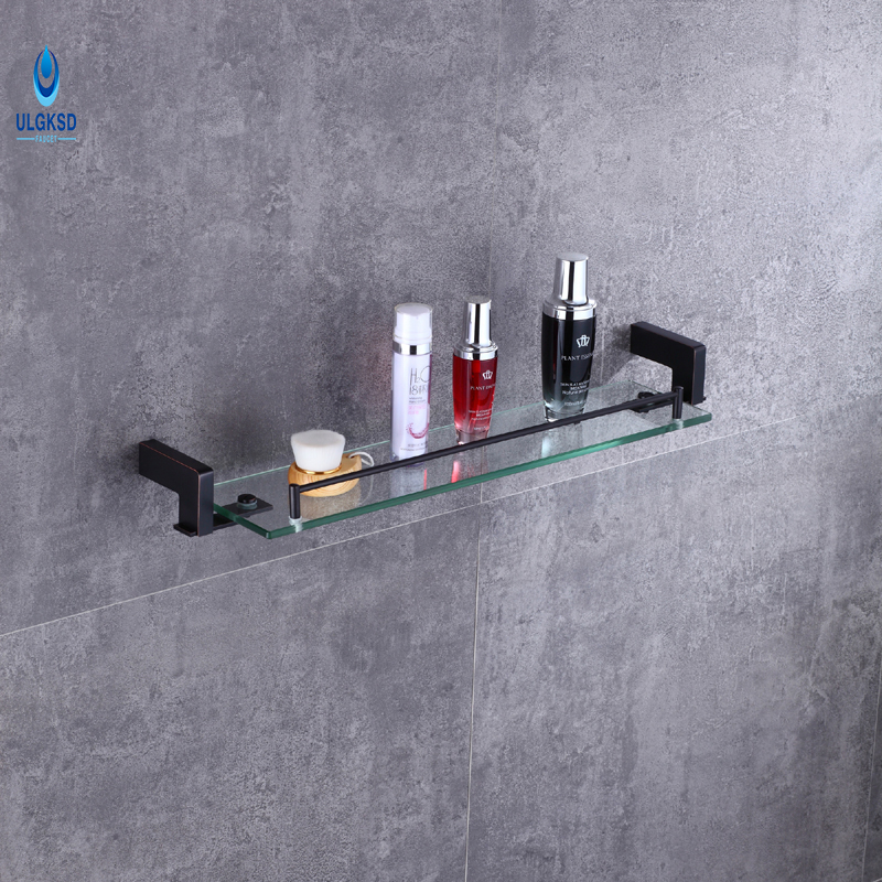 Ulgksd  Wall Mounted Black Brass Glass Bath Towel Holders Towel Shelf  Towel Racks Bathroom Hardware Bathroom Accessories luxury european brass bathroom accessories bath shower towel racks shelf towel bar soap dishes paper holder cloth hooks hardware