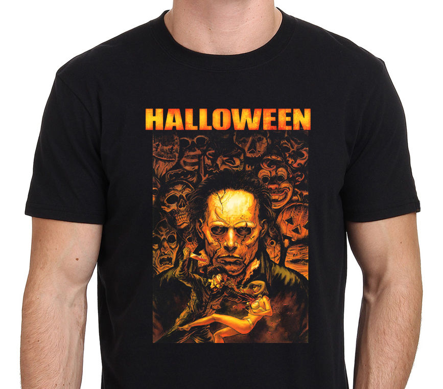 HALLOWEEN Movie Michael Myers Horror Poster Mens T-Shirt Size:S-3XL 100% Cotton T Shirts Brand Clothing Tops Tees Plus Size