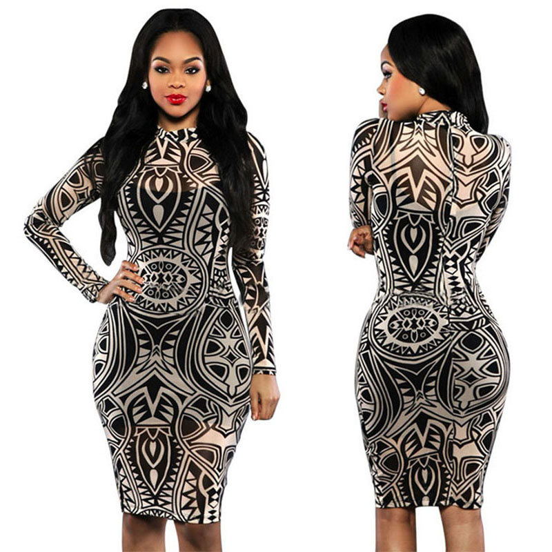 Plus Size Aztec Tribal Vintage Print Bodycon Dress Vestidos 2016 ...