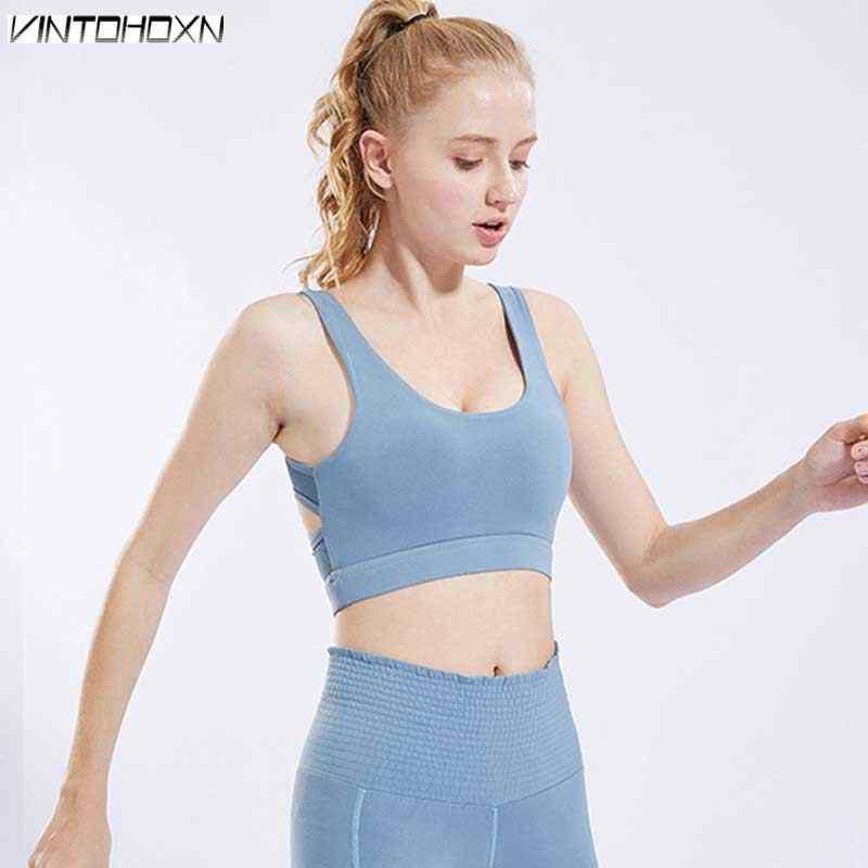 Mujeres Fitness Bra Gymming entrenamiento deportivo yoga chica dormir chaleco ropa interior correr Push Up Tops camisetas tanque 18117