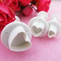 NEW 3Pcs Heart-Shaped Flower Cake Fondant Cookie Decorating Plunger Mold 626