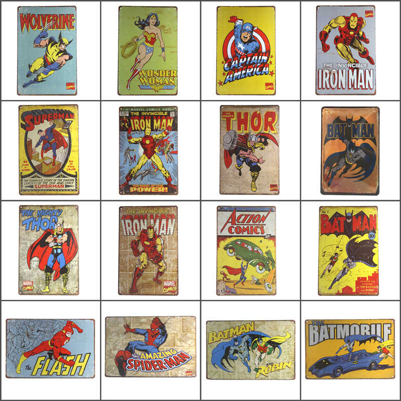 Póster de superhéroes de Spiderman, Batman, Hulk, decoración Chic para el hogar, carteles Vintage de Metal de estaño, placa para pared, placas decorativas para Bar, 20x30cm
