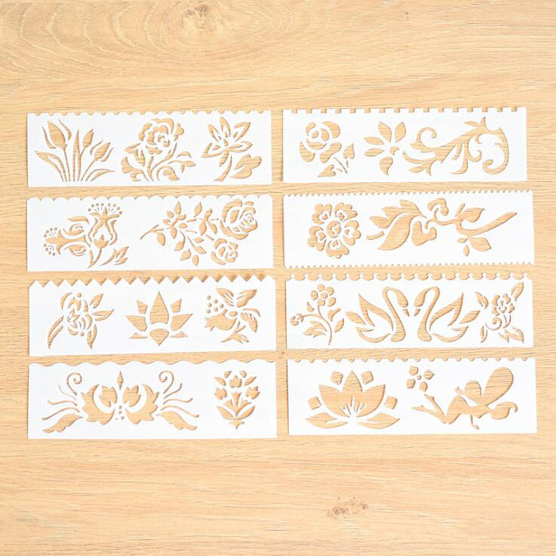 8pc Stencil Flowers Child Painting Openwork DIY Scrapbooking Album Decorative Bullet Journal Number Template Drawing Stencils