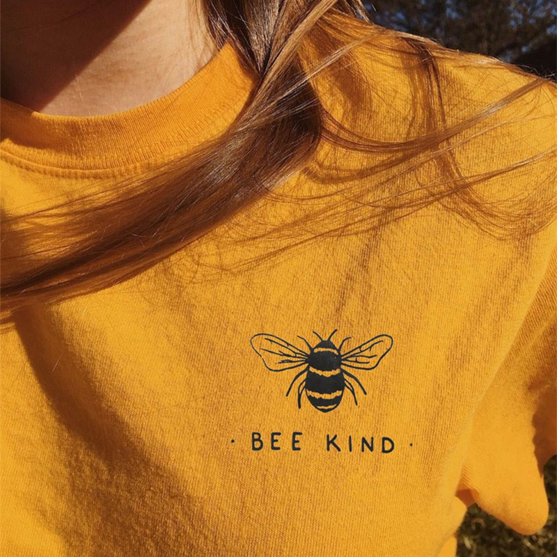 Bee Kind Pocket Print Tshirt Women Tumblr Save The Bees Graphic Tees Women Plus Size T Shirts Cotton O-Neck Tops Drop Shipping