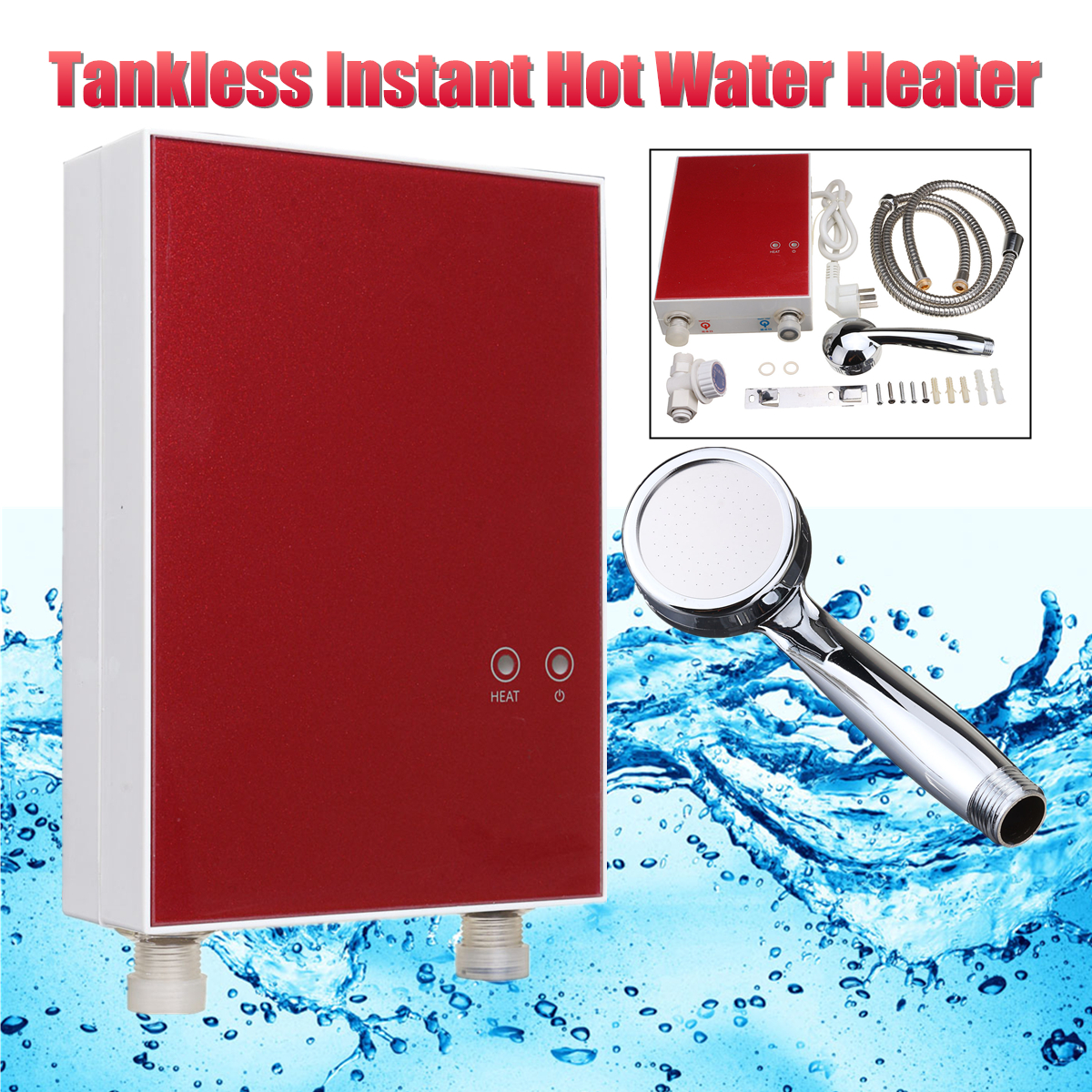 Instant Heat Electric Water Heater Home Kitchen Tankless Boiler System 220V  3500W LCD Digital Under Sink Electricity Saving In Electric Water Heaters  From ...