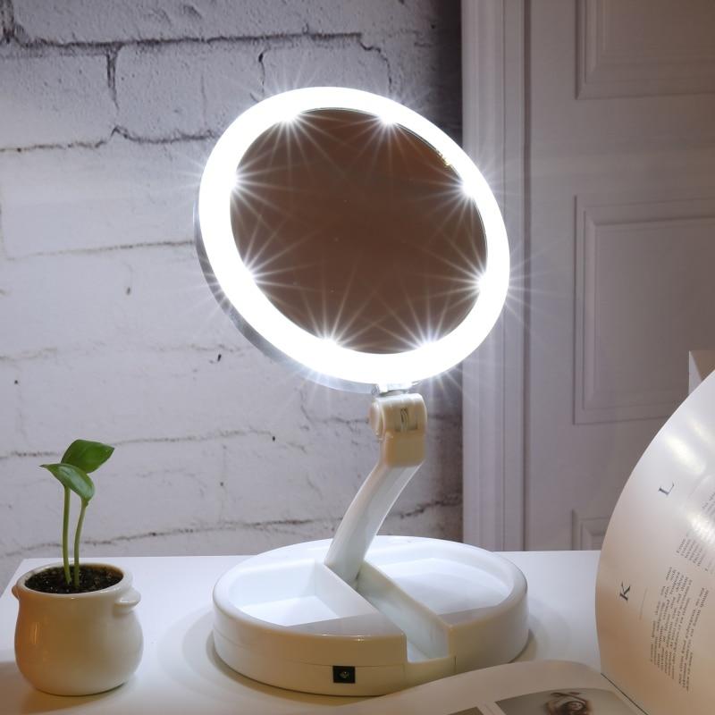 Spiegel Haut Pflege Werkzeuge Hingebungsvoll Doppelseitige Rotation Folding Usb Leds Beleuchteten Make-up Spiegel Tabletop Lampe Kosmetik Spiegel