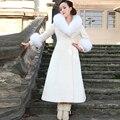 2016 Nuevas mujeres de la Moda Blanco Abrigos de Lana de Cuello de Piel Grande Chaqueta de Invierno Larga Delgada Abrigos Tallas grandes Outwear