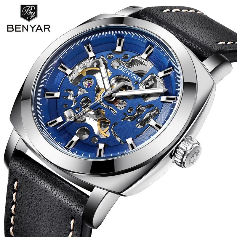 BENYAR watch Men Luxury Top Brand Mechanical Watch Fashion Business Men Watch Automatic Steel Wristwatch Luminous Waterproof-in Mechanical Watches from Watches    1