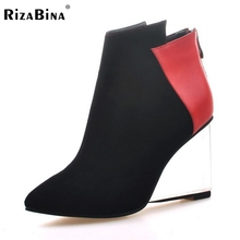 Women Pointed Toe Real Genuine Leather Ankle Boots Wedges Transparent Heeled Shoes Woman Zipper Heeled Shoes Size 34-39