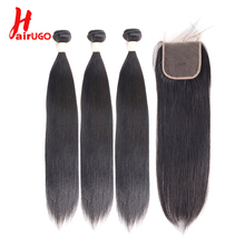 HairUGo Brazilian Hair Weave Bundles Straight Human With Closure Double Machine Weft Remy Extensions