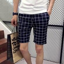 Men Shorts Plaid  Knee Length  Shorts Plus Size 2016 Brand Fashion Casual Bermuda Masculina Shorts