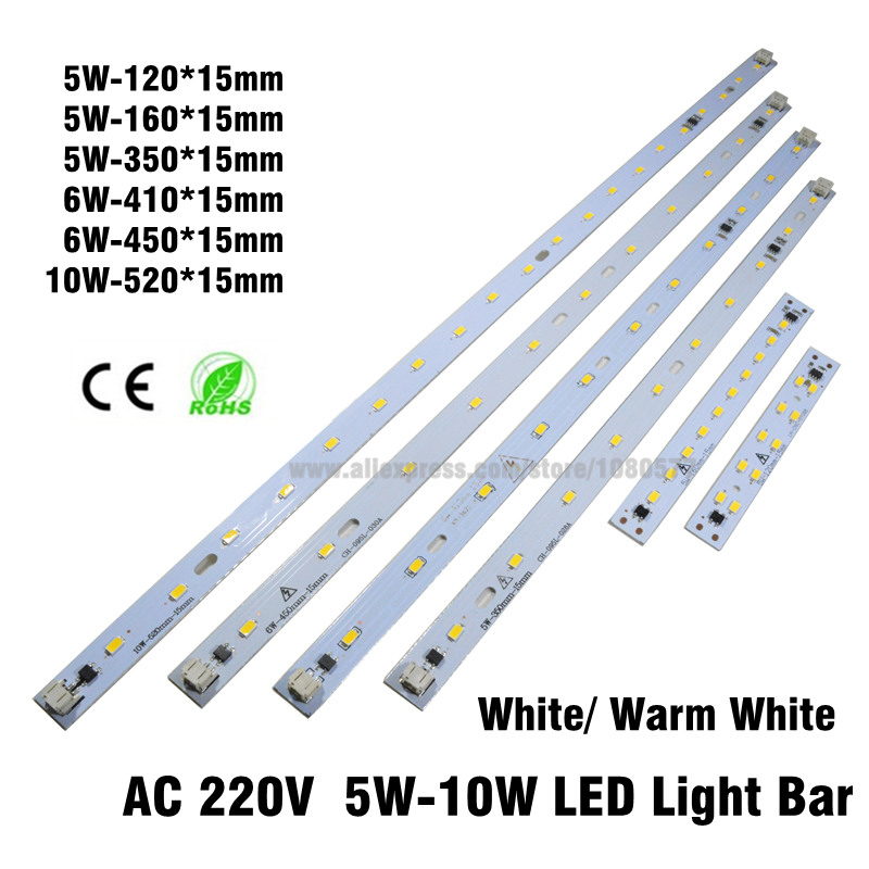20pcs 220v 5730 led light Bar, 5w 6w 8w 10w 220v rectangle led strip pcb integrated ic driver easy use and excellent quality