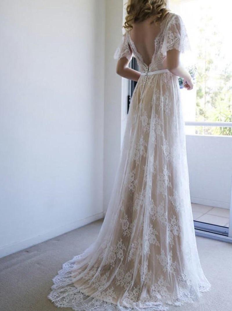 Boho Wedding Dress vestido de noiva Lace Beach Wedding Party Dress Short Sleeves robe de mariee