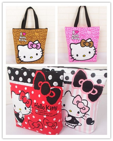 f4f3d68f9092 38 35CM Kawaii Canvas Hello Kitty Handbag   Reusable Shopping BAG   Women  Satchel Storage Shoulder Pouch Holder-in Shopping Bags from Luggage   Bags  on ...