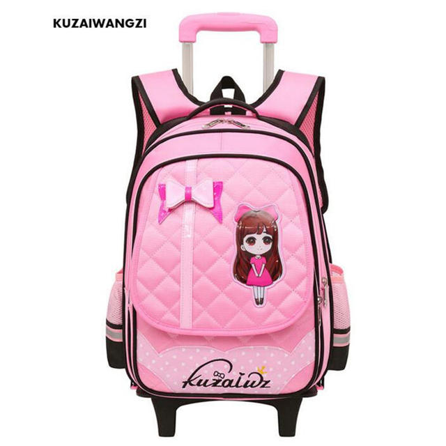 Kzwz Hot Trolley Backpack S Wheeled School Bag Children Travel Luggage Suitcase On Wheels Kids