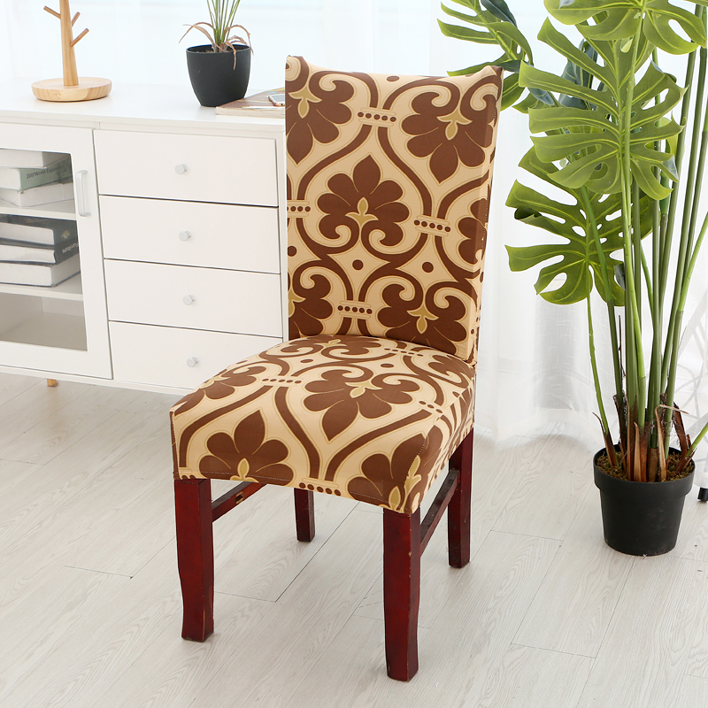 1pc Vintage Baroque Style Printing Spandex Elastic Dining Chair Protector Covers Home Kitchen Removable Stretch Decor Seat Case