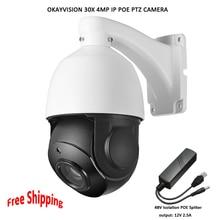 Okayvision POE PTZ Camera 4MP 5inch Mini Size Network Onvif ptz ip 30x zoom ptz ip camera with 60m IR for Free Shipping