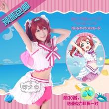купить Aqours love live sunshine Ruby Kurosawa Cosplay costume costume New Year Dress Shirt+Skirt+Leggings+Tie+Headdress+Socks дешево