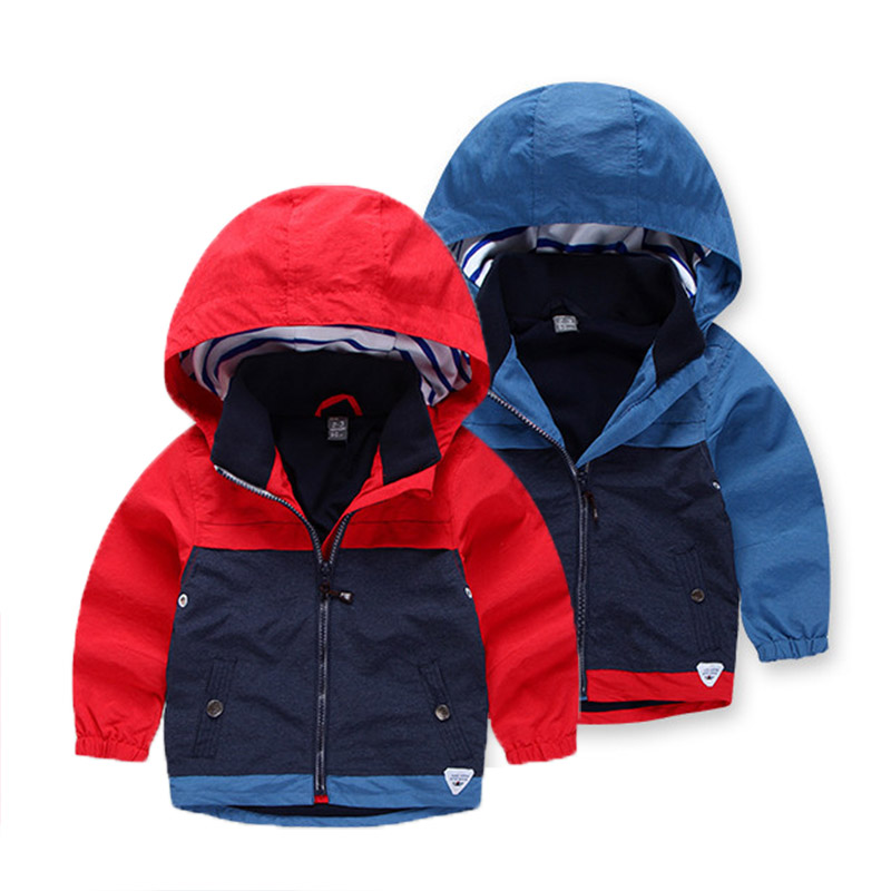 Children Outerwear for Boys Clothes Fashion Colors Stitching Windproof Jackets Coat Kids Jackets Tops For Boys Age 2-8Y