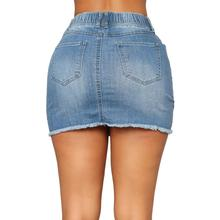 Elastic Waist Pencil Cotton Denim Skirts NA01