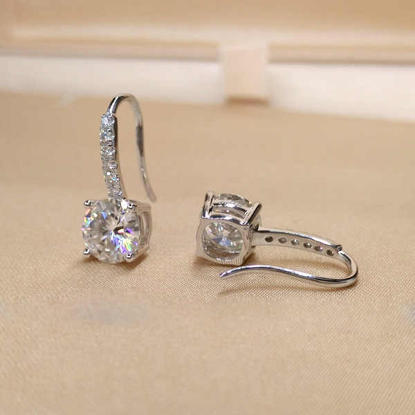 Romantic Lovely Clear Stone Stud Earrings Silver Cubic Zirconia Earrings For Women Party Wedding