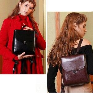 Image 2 - Zency moda kadın sırt çantası 100% hakiki deri sırt çantası rahat seyahat çantası tiki tarzı kız erkek okul çantası yüksek kaliteli çanta