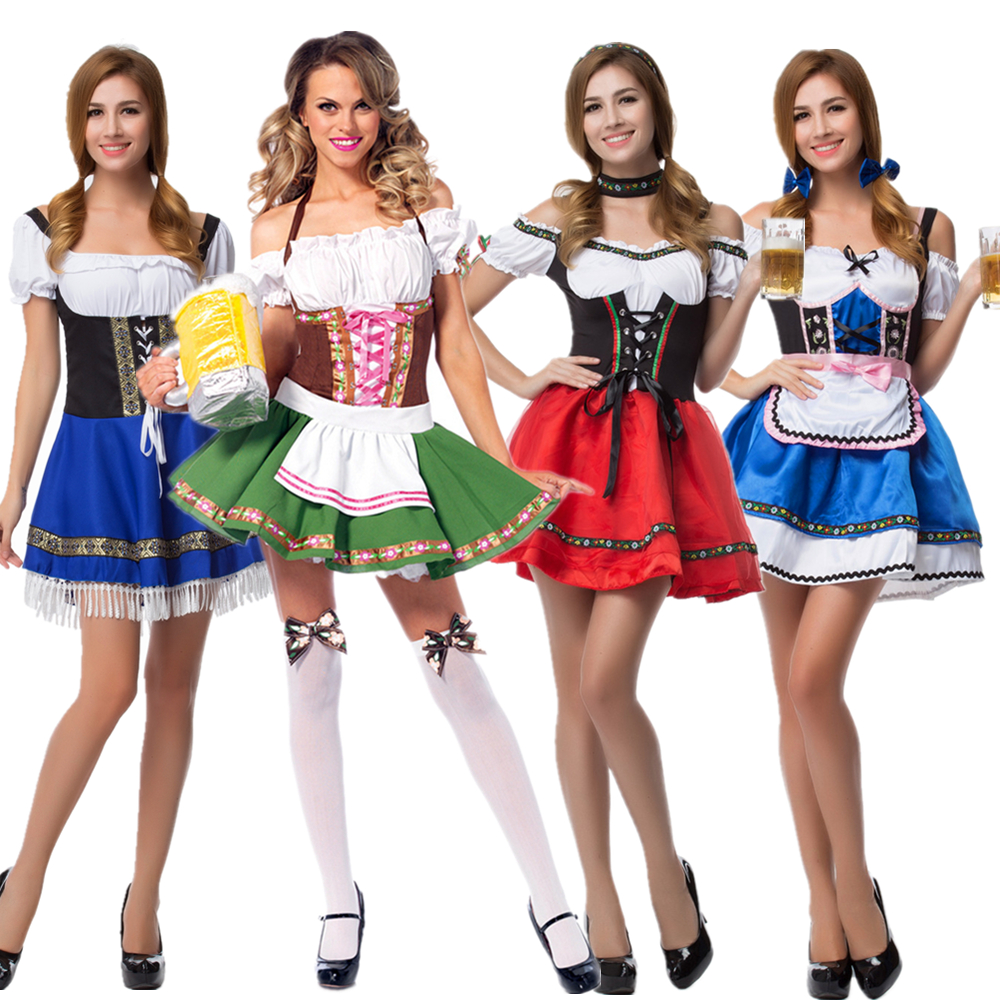 S-6XL Hot Dirndl German Beer Maid Costumes Women Oktoberfest Carnival Fancy Dress Up