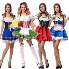 S 6XL Hot Dirndl niemieckie piwo pokojówka kostiumy kobiety Oktoberfest karnawałowe przebranie