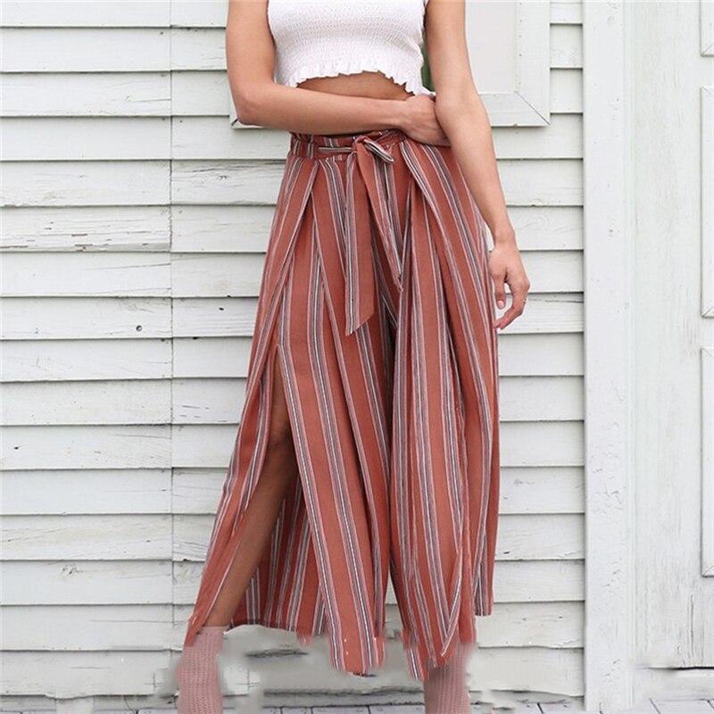Bigsweety Women Summer Beach High Waist Trousers High Split Stripe   Wide     Leg     Pants   Chic Streetwear Sash Casual   Pants   Loose Female