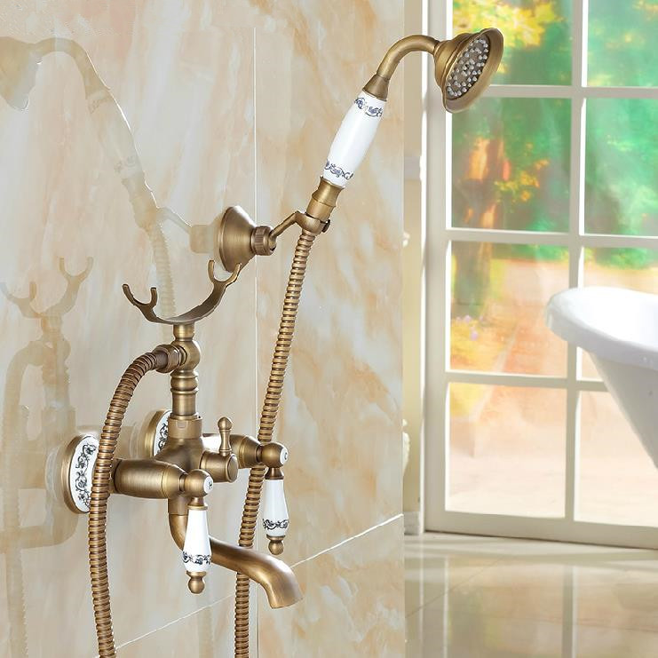 Antique Bath Shower Set Bathroom Bathtub Faucet Pattern Ceramic Handheld Shower Head Faucet Mixer Tap Free Shipping H-01  luxury bathroom rain shower faucet set antique brass handheld shower head two ceramics lever bathtub mixer tap ars003