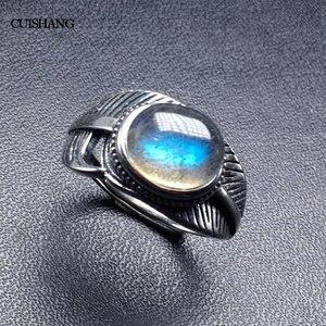 Image 2 - CSJ 100% 天然ラブラドライトリングスターリングシルバー女性ファムレディウェディング婚約指輪パーティーギフトファインジュエリー