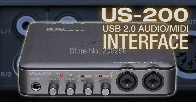 2015 new original tascam us 200 usb audio interface external recording sound card 2 input 4. Black Bedroom Furniture Sets. Home Design Ideas