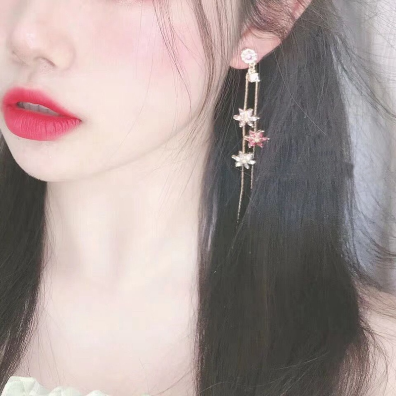 MENGJIQIAO 2019 New Korean Crystal Pink Flower Tassel Long Drop Earrings For Women Geometric Elegant Dangle Pendientes Gifts