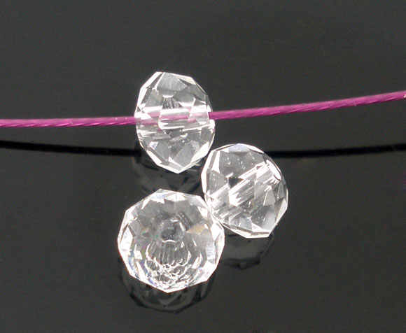 """DoreenBeads Glass Loose Beads Flat Round Transparent Faceted Transparent About 4mm( 1/8"""") Dia, Hole: Approx 0.8mm, 25 PCs"""