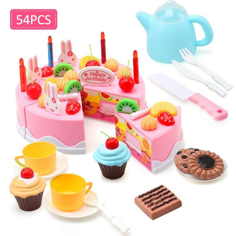 54pcs Fruit <font><b>Birthday</b></font> Cake Kitchen Toys For Kids Children DIY Food Cutting Pretend Play Classic Toy
