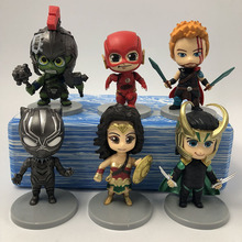6 pieces/set The avengers Wonder Woman Flash Hulk Rocky Panther Action Figures Model Toy Super Hero Gift For Children