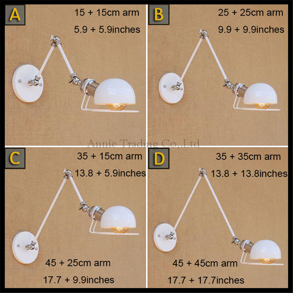 E27 Vintage Industrial Wall Lamp Loft White Swing Arm Sconce Balcony Stair Porch Restaurant Bar Bedroom Wall Light Home Light e27 vintage industrial wall lamp loft creative sconce balcony stair porch restaurant bar bedroom decoration home light with bulb