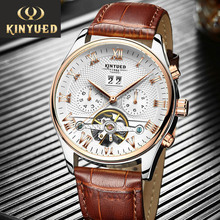 Skeleton Tourbillon Mechanical Watch Men Automatic Classic Rose Gold Leather Mechanical Wrist Watches KINYUED Reloj Hombre 2019 цена и фото