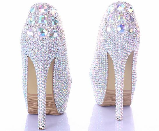 64a38f6268 14 cm new high end colorful diamond round head waterproof platform heels  bridal gown shoes cocktail party shoes-in Women's Pumps from Shoes on ...