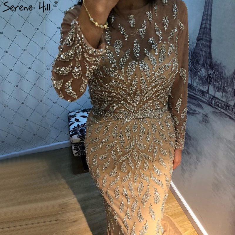 Dubai Luxury Mermaid Sparkly Formal Prom Dresses 2019 Beading Sequined Long Sleeves Prom Gowns Serene Hill BLA60892
