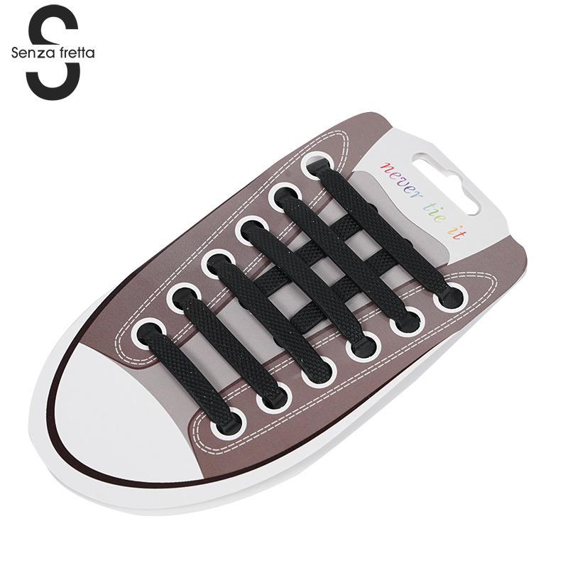 Senza Fretta 16pcs/pack Shoelaces Silicone Soft No Tie Shoe Laces Fashion Trendy Women Men Shoelaces Black White Color LDD0214