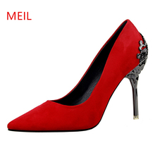 Women Pumps Fetish Stiletto High Heels Wedding Shoes bride Pointed Toe party Shoes Designer Heels Metal Flock Sexy Party Shoes 2019 fashion design women high heels ivory pearl wedding party shoes 3 inches heel bride shoes pointed toe ceremony event pumps