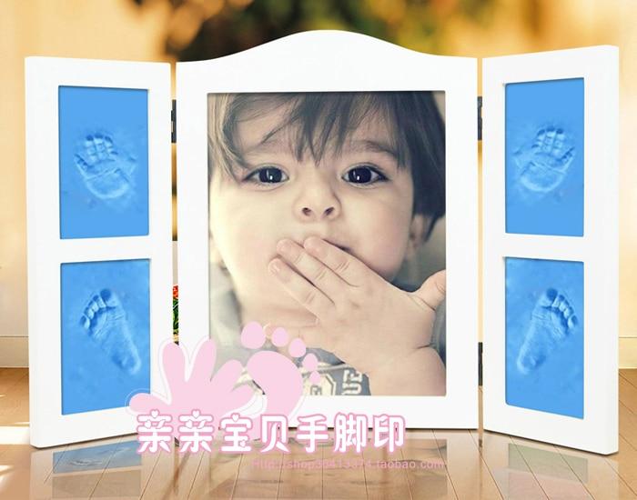 Wood photo frame hand inkpad baby footprints baby souvenir hand foot ...