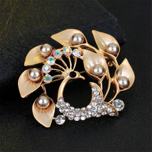 2016 new peacock brooches for women luxury rhinestone broches animal for wedding pins brooches for women fine jewelry