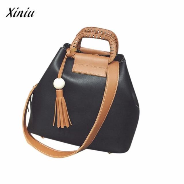 742cff9e700f Xiniu women bag set leather 2017 Handbags Fashion Ladies Shoulder Bag  Tassel Casual Large Capacity Hobos Tote Crossbody Bag ws
