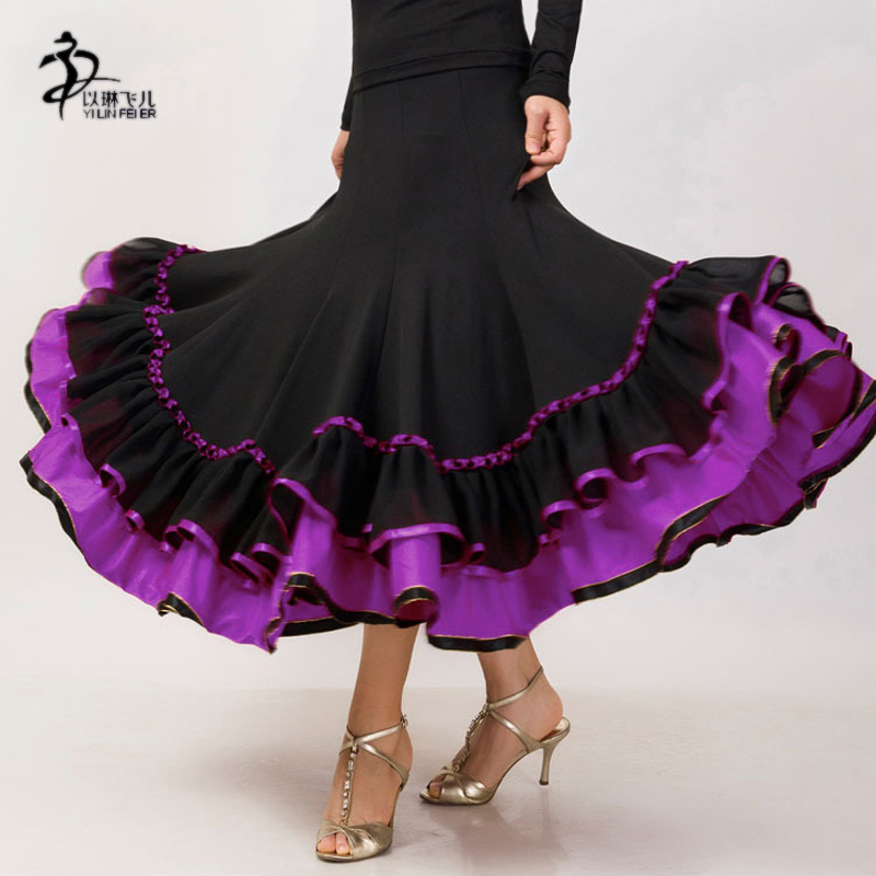 gonna flamenco latino salsa salsa flamenco Ballroom gonna abito da ballo ---- Nuovo ballo skrit per donne / Spagna gonna danza