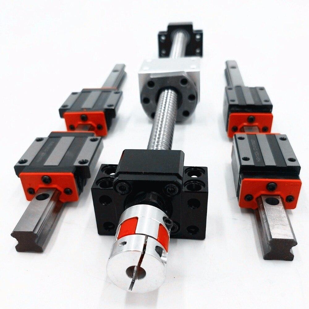 Cnc Kit Linear Guide Rail 20mm Linear Rail Guides HB20-1500mm 2pcs + HBH20CA 4pcs +sfi1605-1500mm  1 pc +1set bkbf12+coupling linear bearings guides cpc linear guide linear guide unit