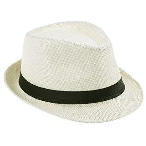 Хит модных продаж унисекс Fedora Мужская Гангстерская шляпа Кепка для женщин Летняя Пляжная шляпа соломенная шляпа-Панама мужские модные крутые шляпы розничная - Цвет: Cream