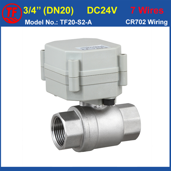 Electric Water Valve TF20-S2-A, DC24V 7 Wire 2-Way Stainless Steel 3/4'' Full Bore Actuator Valve For Water Control CE IP67 tf20 s2 c high quality electric shut off valve dc12v 2 wire 3 4 full bore stainless steel 304 electric water valve metal gear